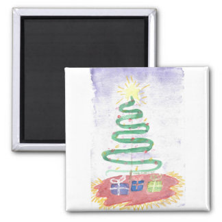 Christmas Tree art by Wendy C Allen  Square Magnet