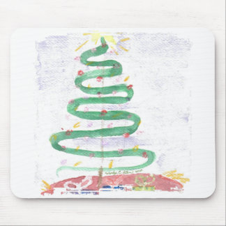 Christmas Tree art by Wendy Ragged Border Mousepad
