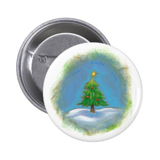 Christmas tree art simple sweet hearts star 6 cm round badge