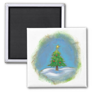 Christmas tree art simple sweet hearts star magnet