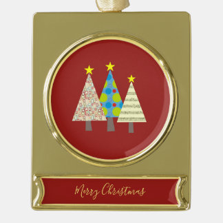 Christmas Tree Artistic Stylish Geometric Colorful Gold Plated Banner Ornament