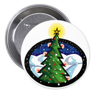 Christmas Tree at Night 7.5 Cm Round Badge