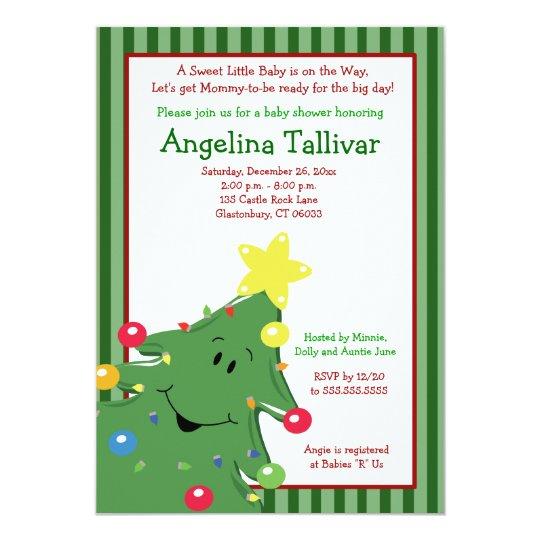 CHRISTMAS TREE Baby Shower 5x7 Invitation Green