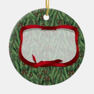 Christmas Tree Background w/Ribbon Tag Round Ceramic Decoration