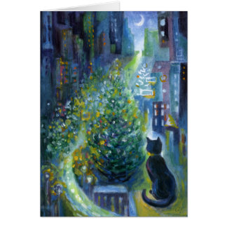 Christmas Tree Balcony View Cat Greeting Card