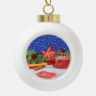 Christmas tree ball with picture and motive for ceramic ball decoration
