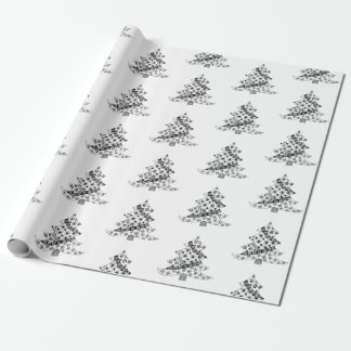 Christmas Tree Black and White Pattern Wrapping Paper