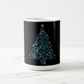 Christmas Tree Black Metallic Blue Elegant Shiny Coffee Mug