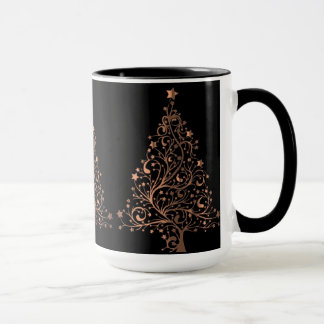 Christmas Tree Black Metallic Brown Copper Elegant Mug