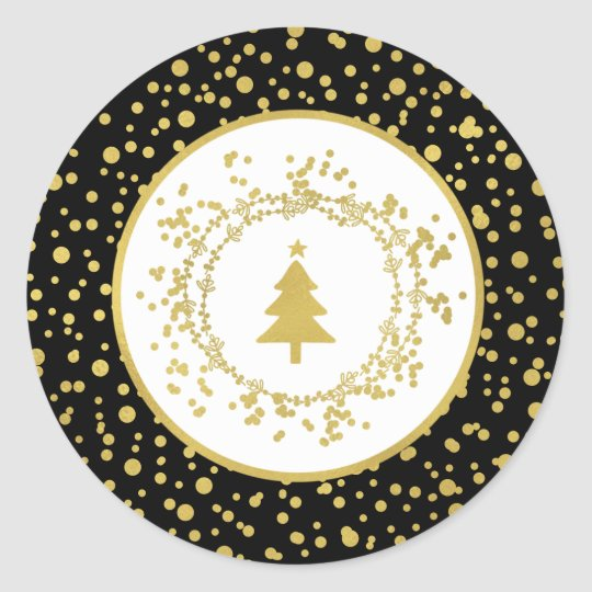 Christmas Tree Black & White Holiday Classic Round Sticker