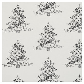 Christmas Tree Black & White Holiday Fabric