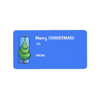 Christmas Tree blue Gift Tag Label Address Label