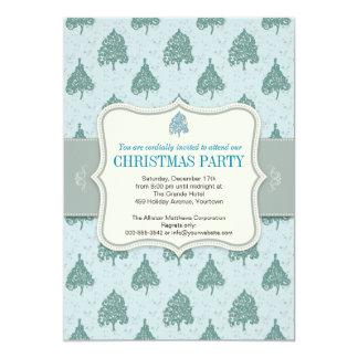 Christmas Tree Blue Holiday Party 13 Cm X 18 Cm Invitation Card