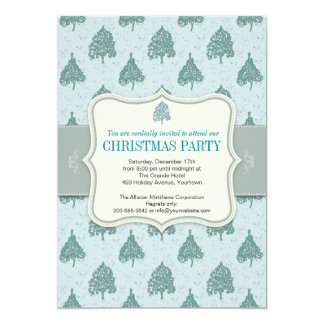 Christmas Tree Blue Holiday Party Card