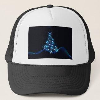 Christmas tree blue lights trucker hat