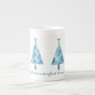 Christmas Tree Blue Minimal Elegant Beautiful Chic Tea Cup