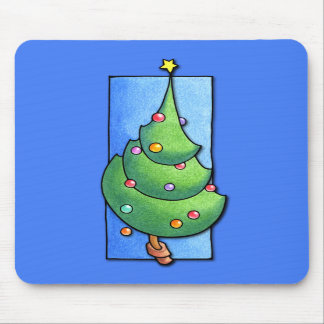 Christmas Tree blue Mousepad