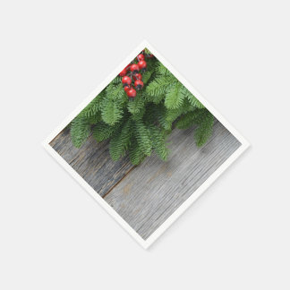 Christmas Tree branch with Holly Berry Disposable Napkins
