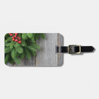 Christmas Tree branch with Holly Berry Luggage Tag