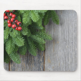 Christmas Tree branch with Holly Berry Mouse Pad