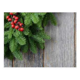 Christmas Tree branch with Holly Berry Postcard