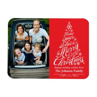 Christmas Tree Calligraphy Holiday Photo Magnet