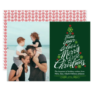 Christmas Tree Calligraphy Script Holiday Photo Card