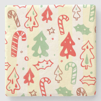 Christmas Tree Candy Cane Holly Pattern Stone Beverage Coaster