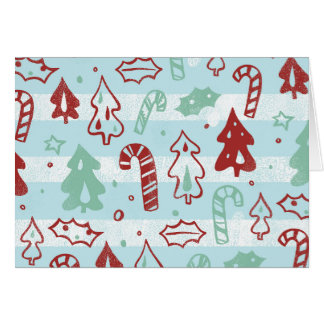 Christmas Tree Candy Cane Holly Pattern on Blue Greeting Cards