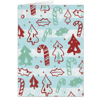 Christmas Tree Candy Cane Holly Pattern on Blue Cards