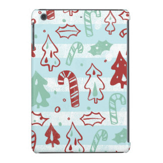 Christmas Tree Candy Cane Holly Pattern on Blue iPad Mini Retina Cases