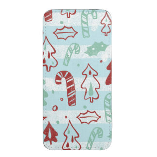Christmas Tree Candy Cane Holly Pattern on Blue
