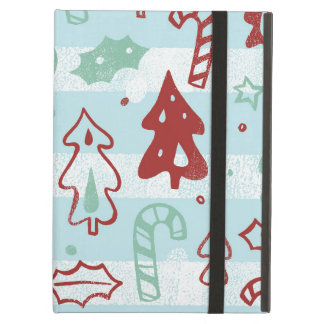 Christmas Tree Candy Cane Holly Pattern on Blue Case For iPad Air