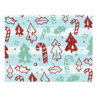 Christmas Tree Candy Cane Holly Pattern on Blue Post Card