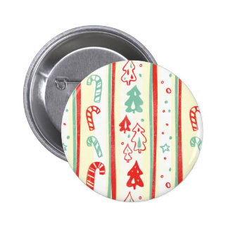 Christmas Tree Candy Cane Stripe Pattern Pinback Button