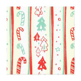 Christmas Tree Candy Cane Stripe Pattern Canvas Prints