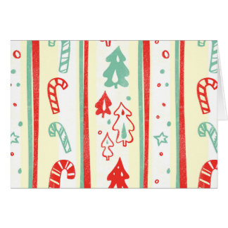 Christmas Tree Candy Cane Stripe Pattern Greeting Cards