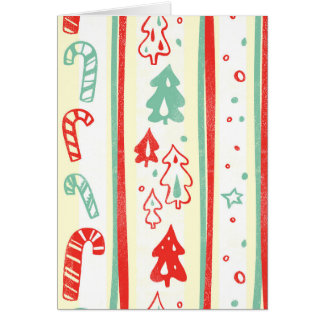 Christmas Tree Candy Cane Stripe Pattern Cards