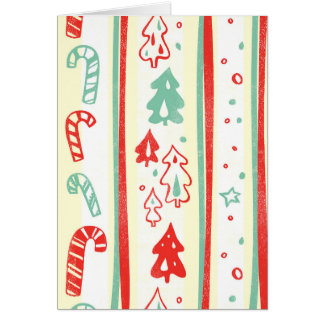 Christmas Tree Candy Cane Stripe Pattern Greeting Card