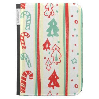 Christmas Tree Candy Cane Stripe Pattern Kindle Keyboard Case