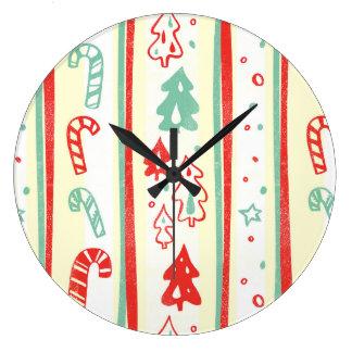 Christmas Tree Candy Cane Stripe Pattern Clock