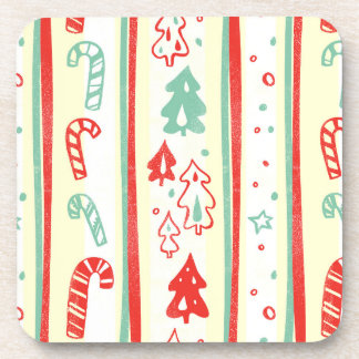 Christmas Tree Candy Cane Stripe Pattern Coaster