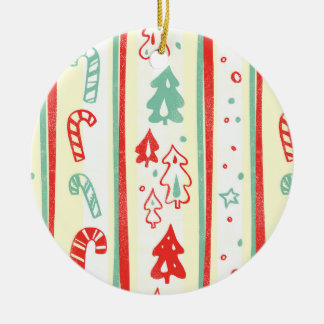 Christmas Tree Candy Cane Stripe Pattern Ornament