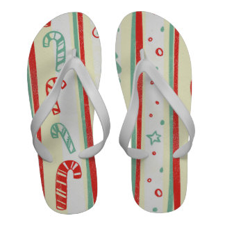 Christmas Tree Candy Cane Stripe Pattern Sandals