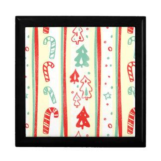 Christmas Tree Candy Cane Stripe Pattern Jewelry Box