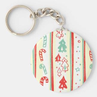 Christmas Tree Candy Cane Stripe Pattern Keychain