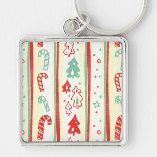 Christmas Tree Candy Cane Stripe Pattern Key Chain