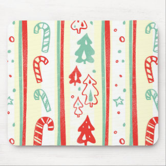 Christmas Tree Candy Cane Stripe Pattern Mousepad