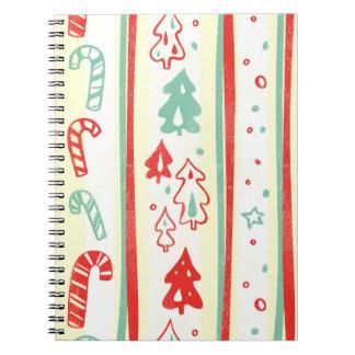 Christmas Tree Candy Cane Stripe Pattern Spiral Notebooks