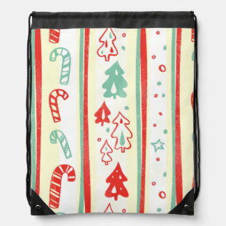 Christmas Tree Candy Cane Stripe Pattern Backpacks
